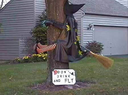 A drunk witch flying into a tree with a sign Don't Drink and fly.