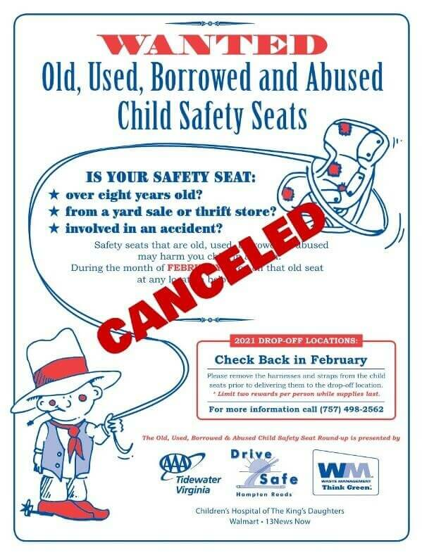 The 2021 Old, Used, Borrowed and Abused Child Safety Seat Round-up  is canceled.